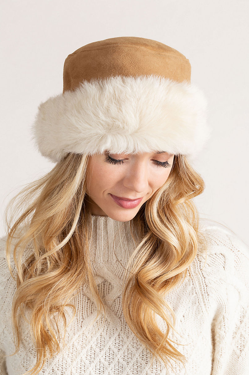 Women's Spanish Shearling Sheepskin Cossack Hat with Toscana Trim