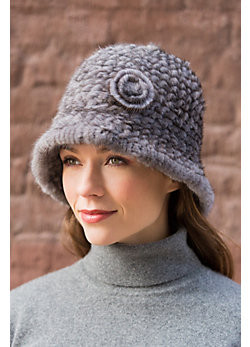 Knitted Danish Mink Fur Cloche Hat With Detachable Flower