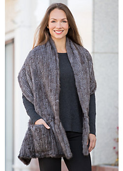 Danica Knitted Mink Fur Ruffle Shawl with Pockets
