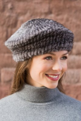 Knitted Mink Fur Beret