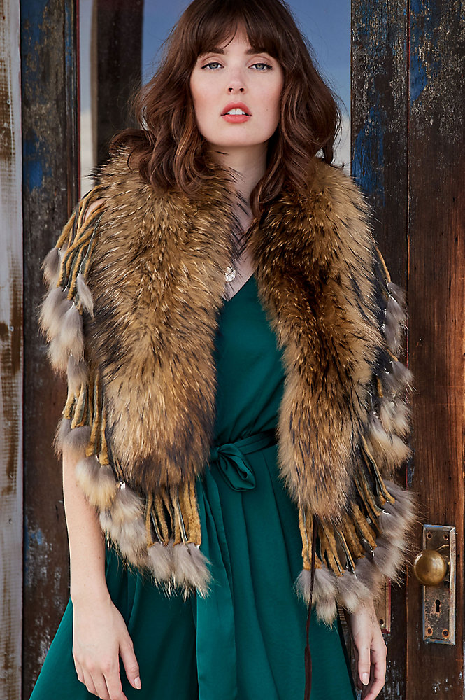 Raccoon Fur Shawl Collar