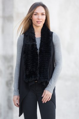Reesa Cashmere Vest With Rex Rabbit Fur Trim
