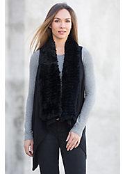 Reesa Cashmere Vest With Rex Rabbit Fur Trim
