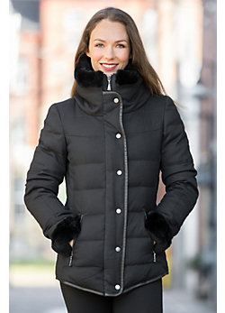 Lorna Hooded Down Jacket with Rabbit Fur Trim
