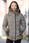 Lorna Hooded Down Jacket with Rabbit Fur Trim