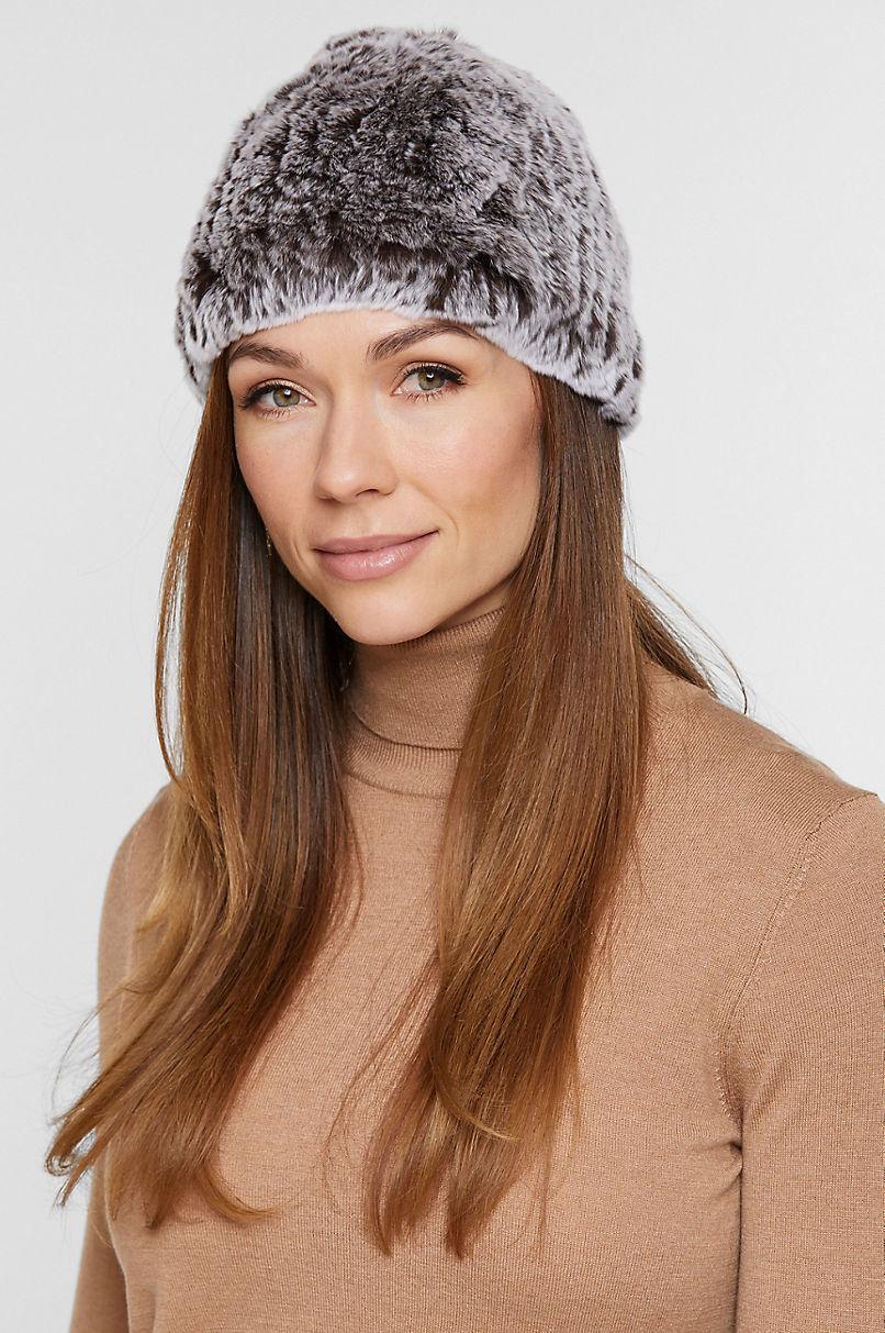 Knitted Rex Rabbit Fur Beanie Hat