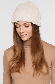 Women's Knitted Rex Rabbit Fur Beanie Hat