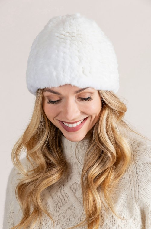 Knitted Rex Rabbit Fur Beanie Hat