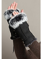 Women's Fingerless Sheepskin Gloves with Rabbit Fur Trim