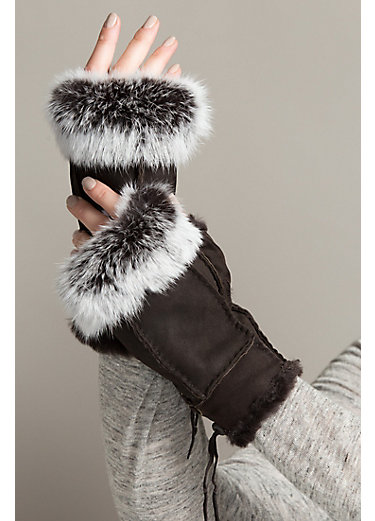 Women's Sheepskin Fingerless Gloves with Rabbit Fur Trim