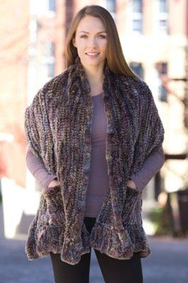 Greta Knitted Rex Rabbit Fur Wrap with Pockets