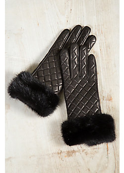 Women's Wool-Lined Quilted Lambskin Leather Gloves with Mink Fur Cuffs