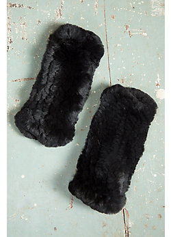 Knitted Rex Rabbit Fur Fingerless Gloves