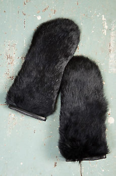 Rabbit Fur and Lambskin Leather Mittens
