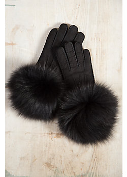 Women's Shearling Sheepskin Gloves with Fox Fur Trim