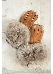 Women's Shearling Sheepskin Gloves with Raccoon Fur Trim