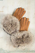 Women's Shearling Sheepskin Gloves with Raccoon Fur Trim