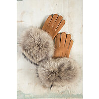 Vintage Style Gloves Womens Shearling Sheepskin Gloves with Raccoon Fur Trim CARAMELNATURAL Size 8 $129.00 AT vintagedancer.com