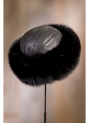 Canadian Fox Fur Cossack Hat with Lambskin Leather Crown