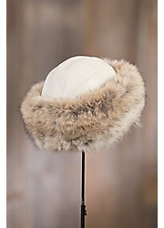 Canadian Coyote Fur Cossack Hat with Lambskin Leather Crown