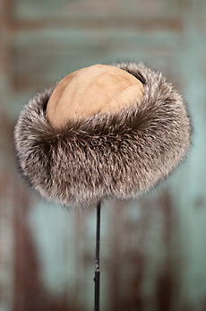 Canadian Fox Fur Cossack Hat with Lambskin Suede Crown
