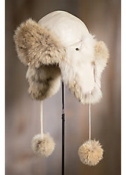 Lambskin Leather Trapper Hat with Coyote Fur Trim