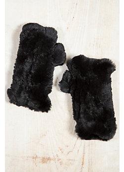 Knitted Rex Rabbit Fur Fingerless Gloves