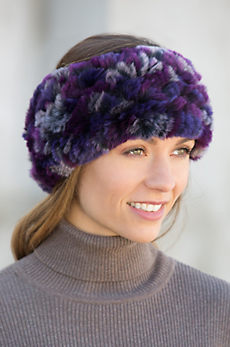 Convertible Knitted Rex Rabbit Fur Neck Warmer and Headband