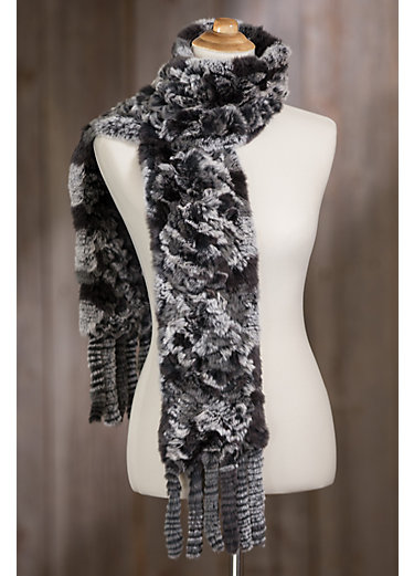 Knitted Rex Rabbit Fur Scarf with Fringe