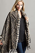 Cara Cashmere Wrap with Rex Rabbit Fur Trim