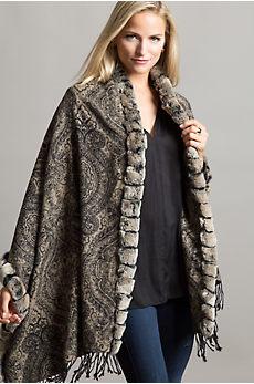 Cara Cashmere Wrap with Rex Rabbit Fur Trim