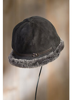 Women's Elegant Shearling Sheepskin Cloche Hat