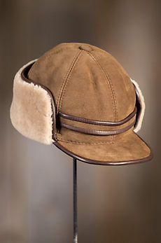 Shearling Sheepskin Cadet Cap with Snap Flaps