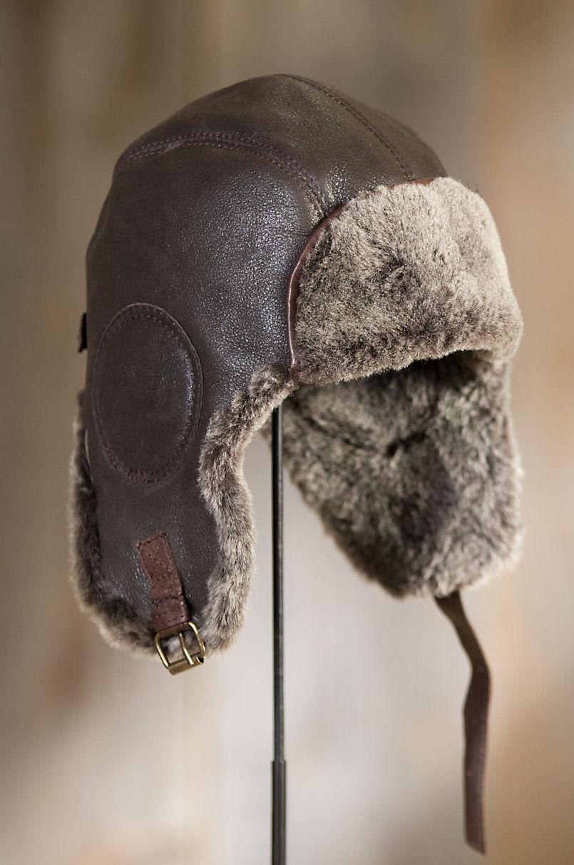 6645b74b82 Vintage Shearling Sheepskin Aviator Hat with Leather Trim