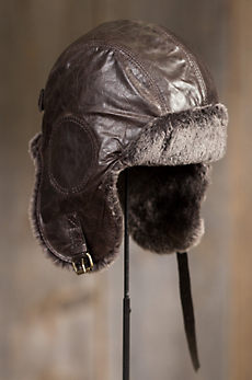 Lambskin Leather Aviator Hat with Shearling Lining