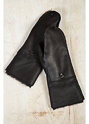 Women's Sheepskin Fingerless Gloves with Mitten Flap