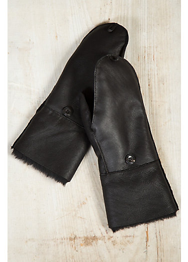 Women's Fingerless Sheepskin Gloves with Mitten Flap