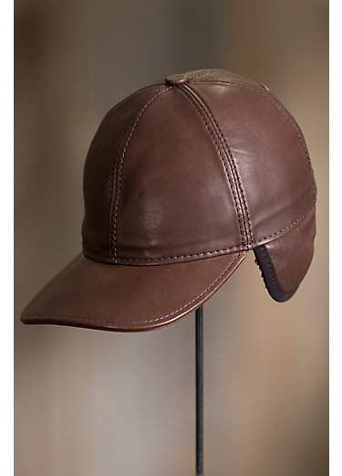Shearling-Lined Spanish Lambskin Leather Baseball Cap