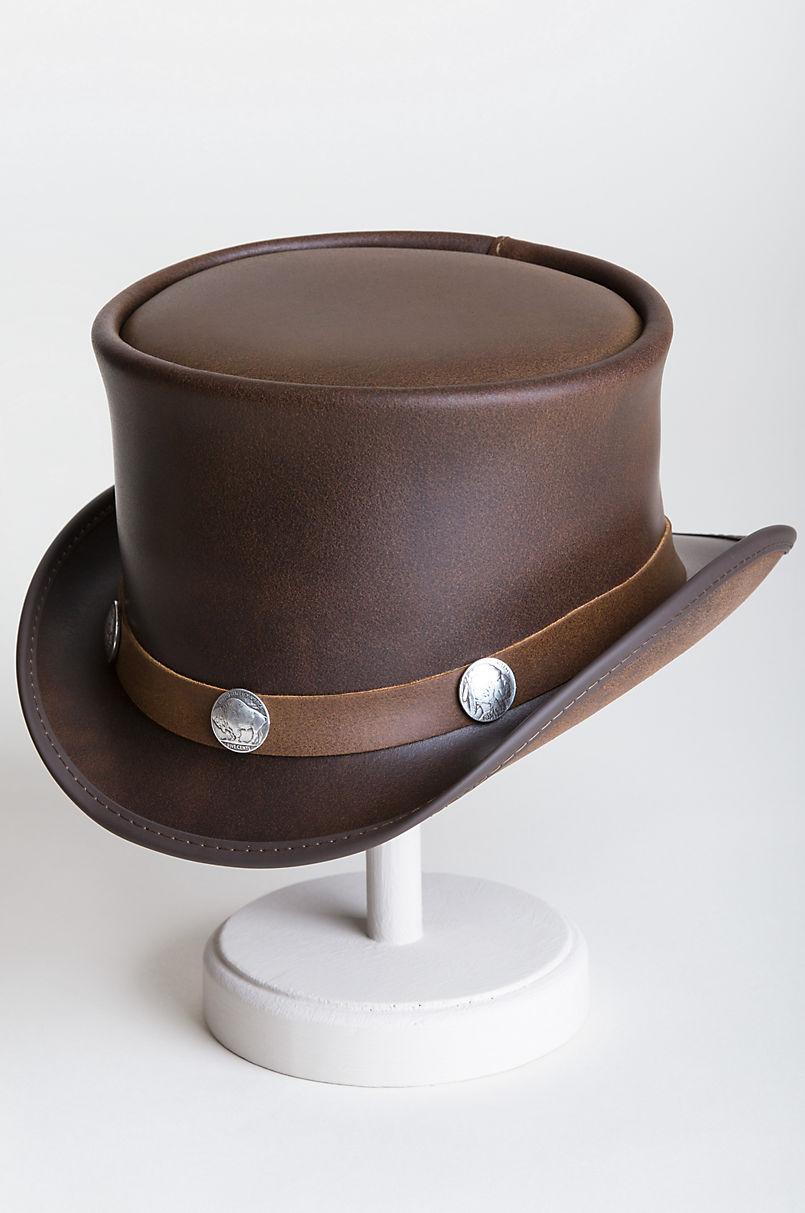 Steampunk El Dorado Leather Top Hat with Buffalo Nickels  ea328a66e0c