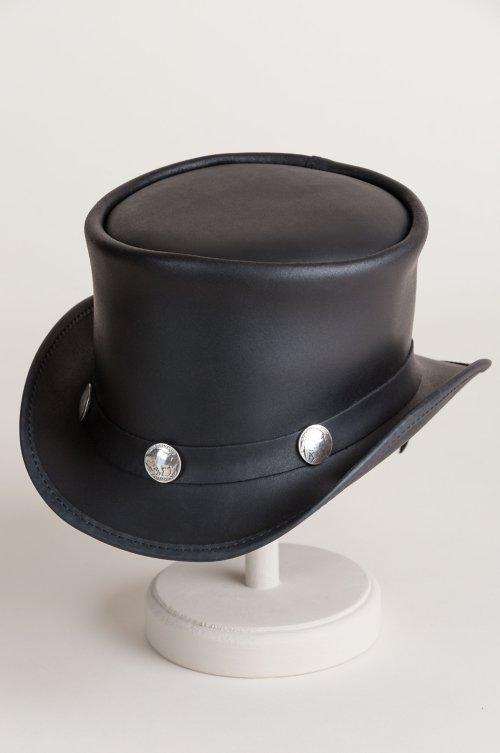 Steampunk El Dorado Leather Top Hat with Buffalo Nickels fd0dcb2f03da