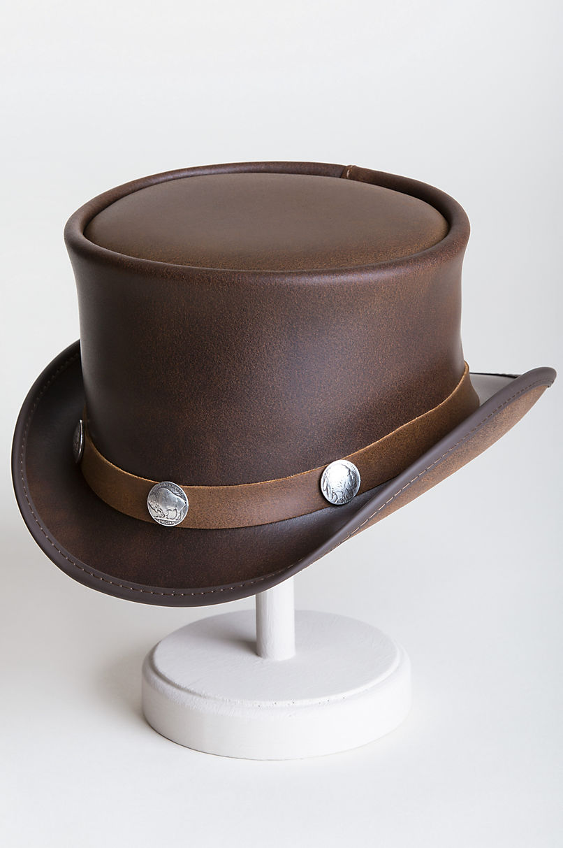 Steampunk El Dorado Leather Top Hat with Buffalo Nickels