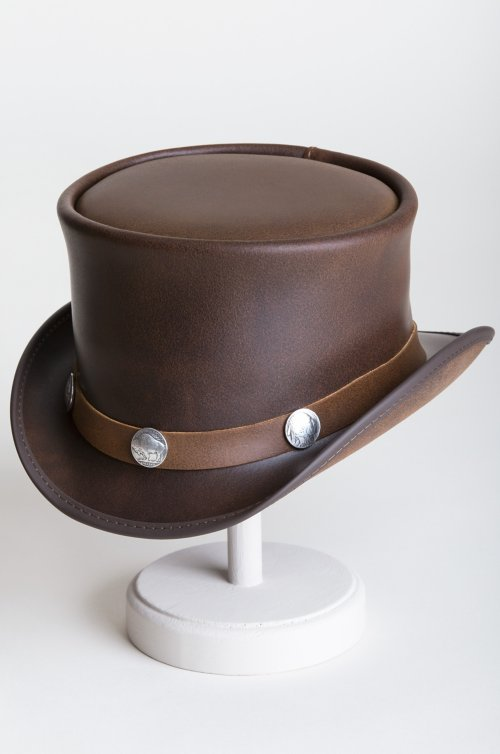 e8b9c2a13fe Steampunk El Dorado Leather Top Hat with Buffalo Nickels
