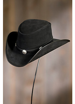 Plainsman Leather Cowboy Hat with Buffalo Nickels