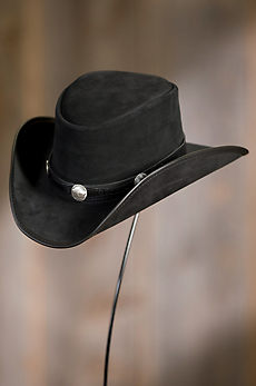 Plainsman Suede Leather Cowboy Hat with Buffalo Nickels