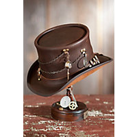 Steampunk Men's Hats Steampunk Trinket Leather Top Hat with Ammo Hatband BROWN Size XLarge 23.75quot circumference $199.50 AT vintagedancer.com