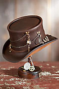 Steampunk Trinket Leather Top Hat with Ammo Hatband