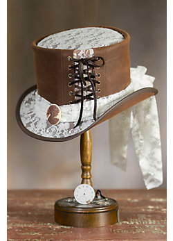 Steampunk Havisham Leather Top Hat