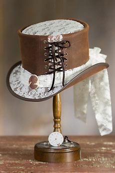 Steampunk Havisham Leather Top Hat