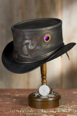 Steampunk Kraken Leather Top Hat