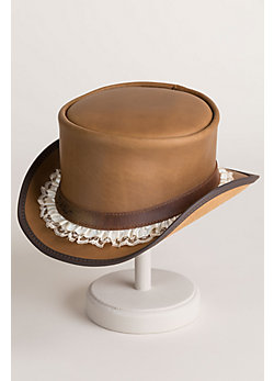 Steampunk Marlow Leather Hat with Garter Hatband